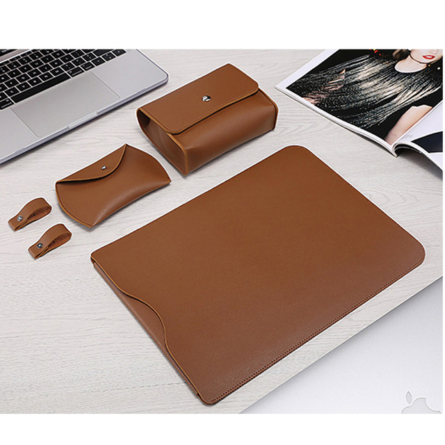 Laptop Sleeve Bag For Macbook Air 13 Retina 11 12 15 15.4 Notebook Case For Xiaomi Pro 13.3 Surface Pro 4 5 6 12.3 Leather Cover