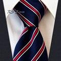 O Envio gratuito de Listras Azul Vermelho Dos Homens do Laço 100% Silk New Tecido Jacquard Clássico Gravata de Casamento Por Atacado