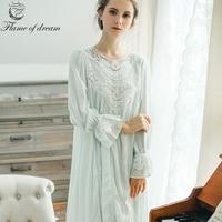 100 Cotton Super High Quality Luxury Nightgowns Long Nightgown Night Dress Sleepwear Nightgown 1386