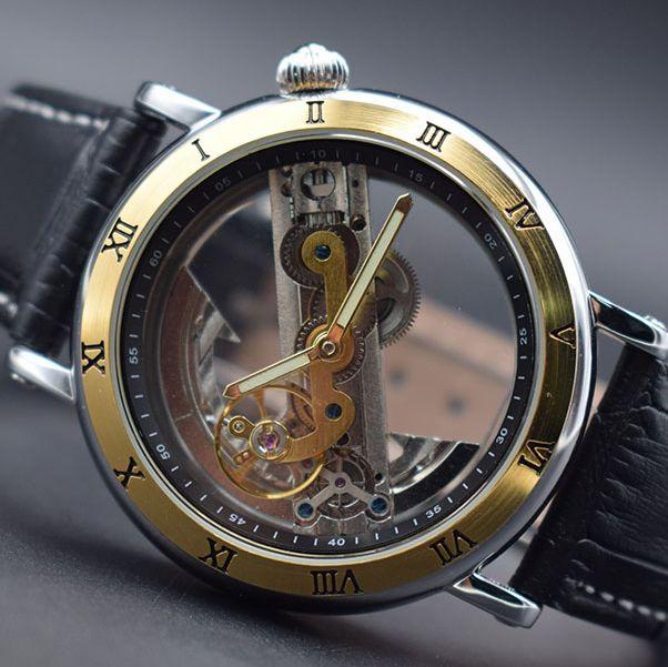 2019 Luxury Design Transparent Case black Leather Strap Mens Watch Forsining Top Brand Luxury Automatic Skeleton