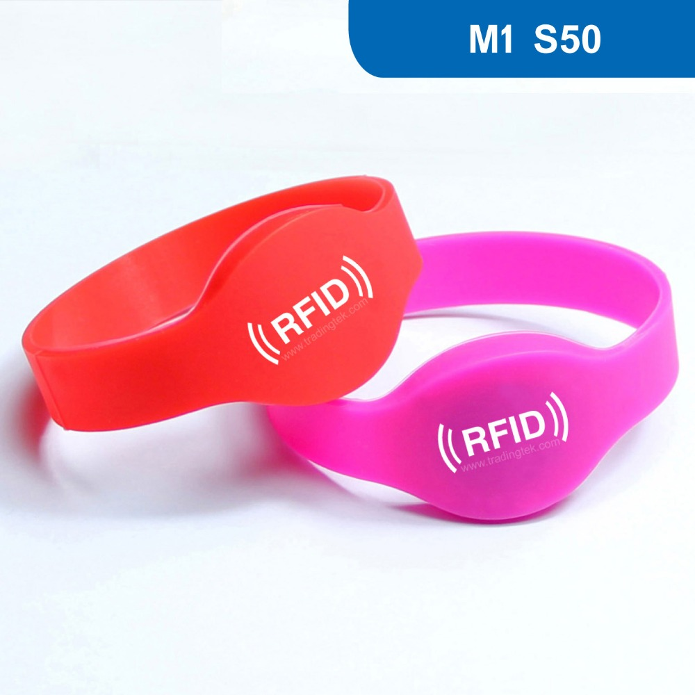 WB01 Passive HF Silicone RFID Wristband NFC Bracelet for Access Control  ISO14443A Frequency 13.56MHz with MF1 S50 Chip rfid 125khz wristband with em chip waterproof abs bracelet for access control swimming pool fitness suana water park 100pcs lot