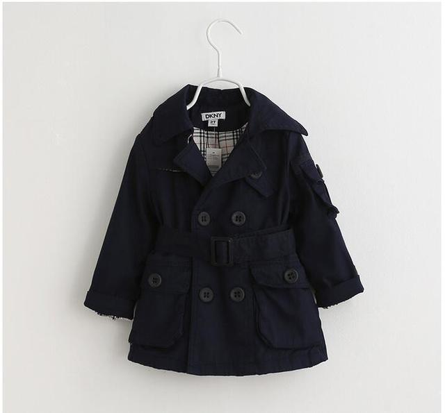 YB60542867 Retail New 2016 Autumn Winter Baby Boy Coat Solid Full Sleeve Double Breasted Boys Trench Kids Outerwear Casual