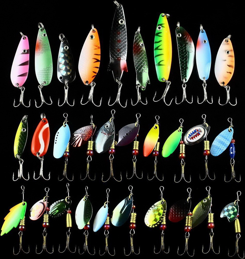 Lot 30pcs Trout Spoon Metal Fishing Lures Bait Spinner Baits Bass Hooks Tackle
