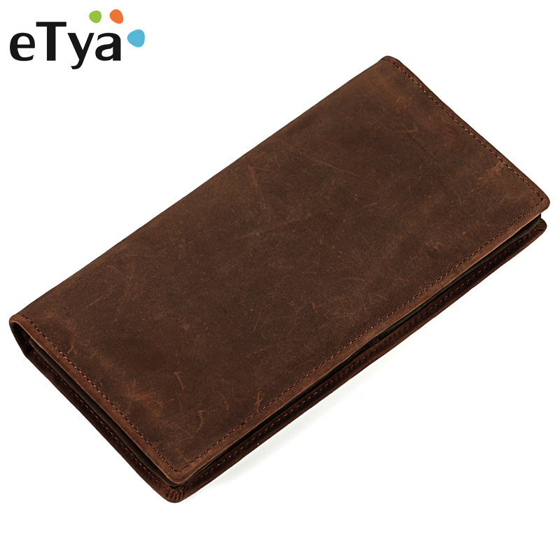 eTya Men Wallets Genuine Leather Long Clutch Wallets for Men Cowhide Purse Fashion Male Credit Card Holder Coin Purse Money Bag etya genuine cow leather men wallets