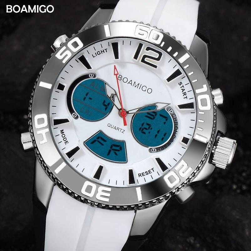 men sport watches fashion digital watch dual display quartz watch BOAMIGO brand fashion rubber strap wristwatch