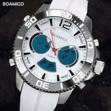 Deporte de los hombres relojes de moda reloj de cuarzo de doble pantalla digital BOAMIGO marca de moda correa de caucho reloj de pulsera 30 M impermeable