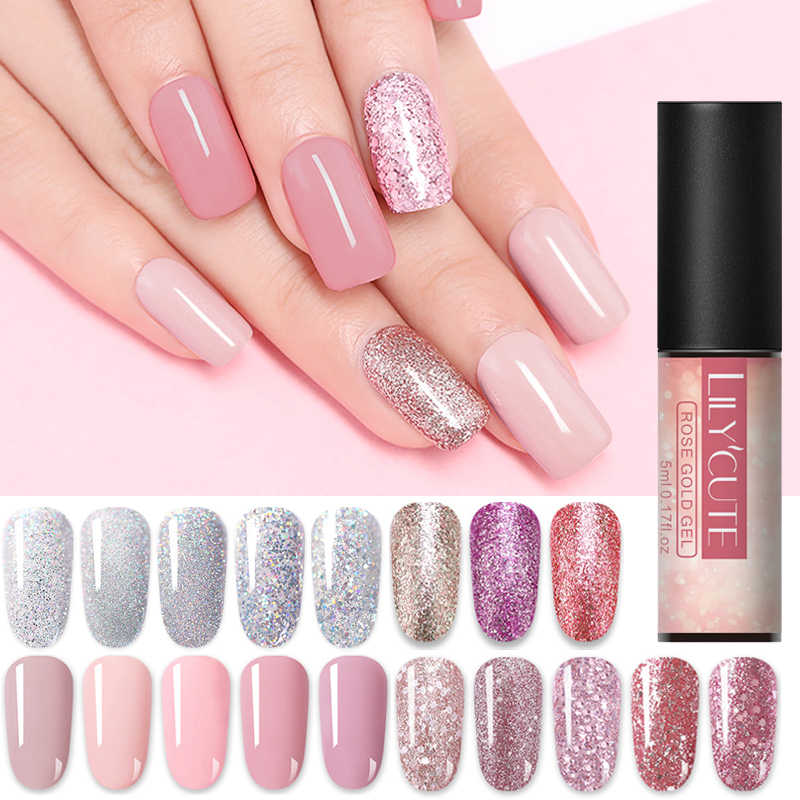 Lilycute 5 Ml Gel Mawar Emas Perak Emas Rendam Off Uv Gel Polandia Warna Dasar Glitter Payet Nail Art uv Gel Varnish
