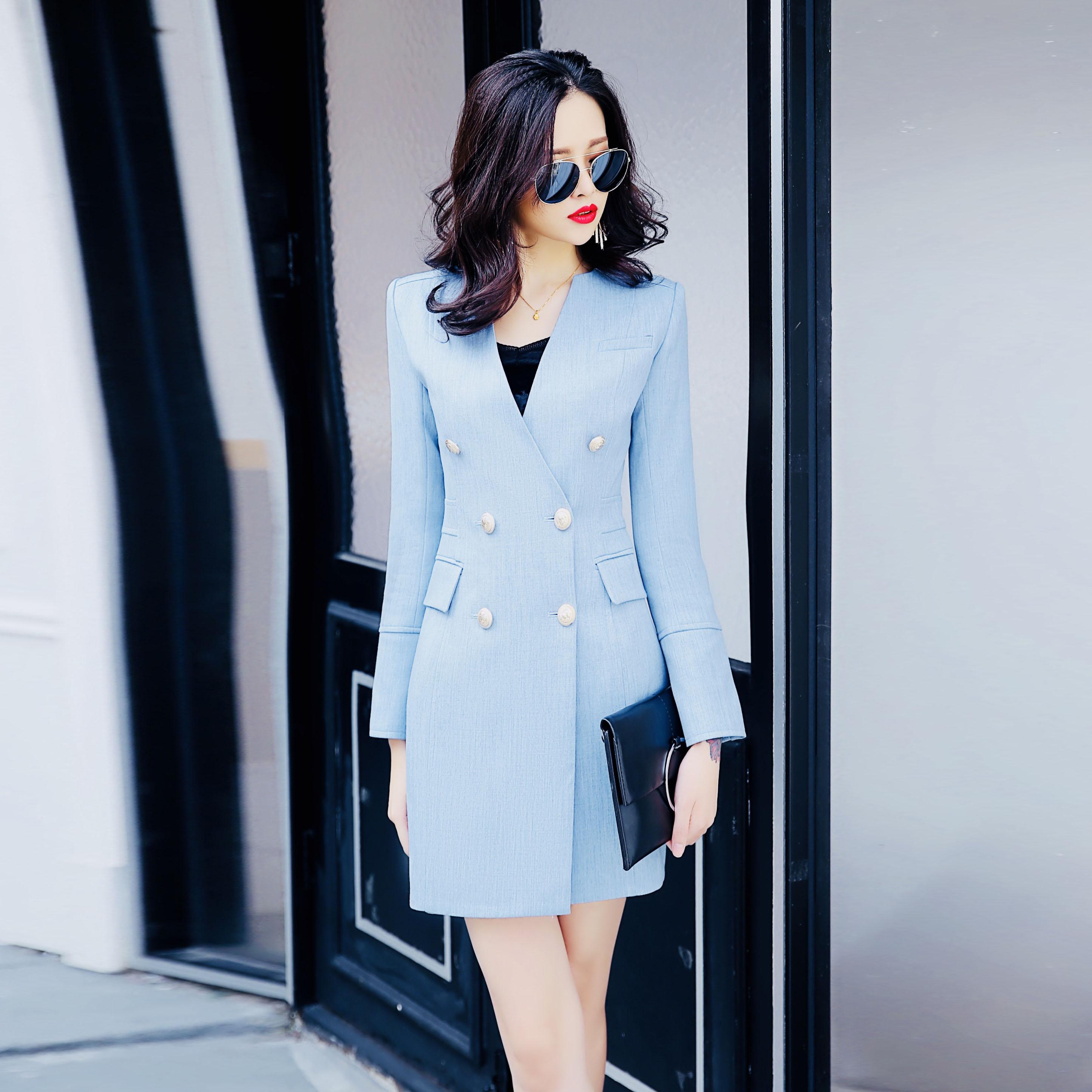 Col Double Bureau Mode De V Robe Longues Robes Femmes Dames Costume Formelle Printemps Pour Breasted À Manches Bleu Lxunyl Automne Mince qxwgCAUn