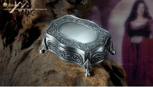 metal jewelry box/ pewter plated big size trinket box/ gift box for wedding(China)