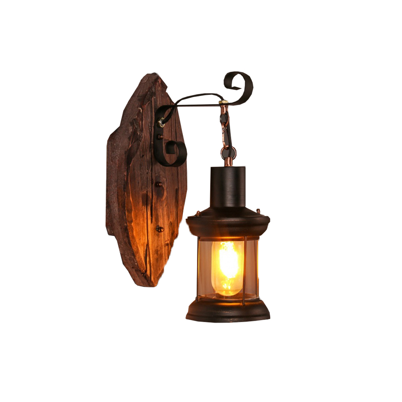 Retro Industrial Wall Lamp Old Boat Wood American Country Nostalgia Iron lampshade Wall Light For Bar Cafe Store Free Shipping vintage edison chandelier rusty lampshade american industrial retro iron pendant lights cafe bar clothing store ceiling lamp