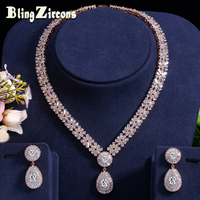 BlingZircons Stunning Dubai Gold Color Cubic Zirconia Heavy Jewellery Set For African Beads Nigerian Wedding Jewelry Sets JS049