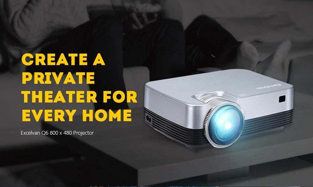 Excelvan Q6 Mini Portable LED Projector 1800Lumen Touch Panel Multimedia Video Projecyor Support 1080P HDMI VGA USB Home Theater (1)