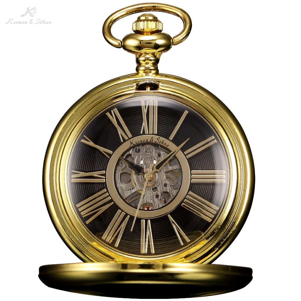 KS Retro Black Skeleton Roman Number Dial Golden Case Round Face Analog Male Hand Wind Clock