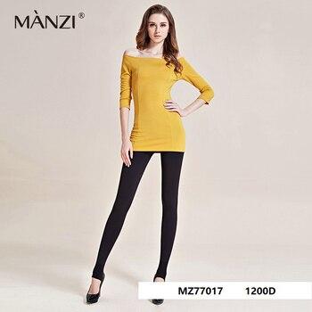 MZ77017 2017 recién llegado MANZI 1200D algodón Slim pierna Stirrup cálido por dentro de la cadera subir espesar medias pantimedias 2 par/lote