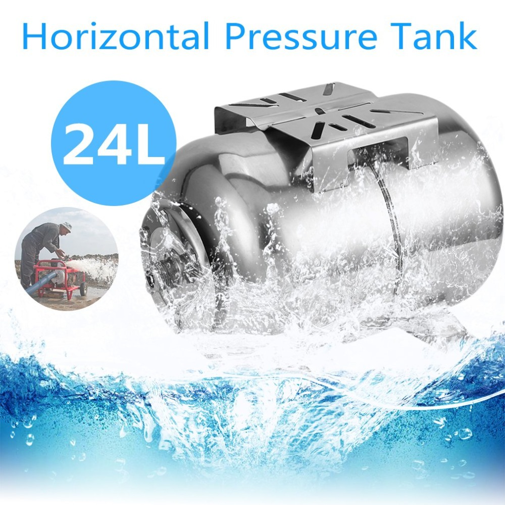 24L Horizontal Pressure Tank Stainless Steel Garden Pressure Expansion Tank Universal Pressure Boiler Equipments