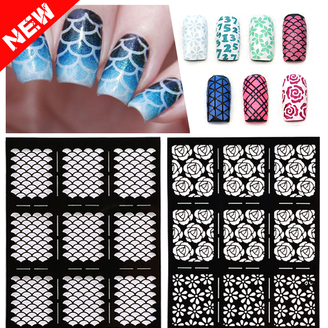 1sheet New Reusable Sting Nail Art Hollow Stickers Black Vinyls Irregular Grid Pattern Template Stencil Guide