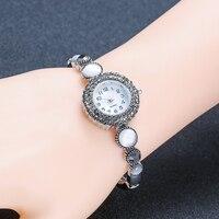 Narrow Chain Bracelet Quartz Watch Cuff Adorn Vintage Silver Color Middle Aged Women Fit Mother S