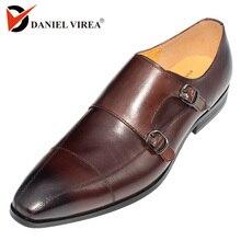 ダニエル VIREA ブランドの高級本革ダークコーヒー色ポインテッドトゥダブルバックルストラップオックスフォードメンズドレスの結婚式の靴