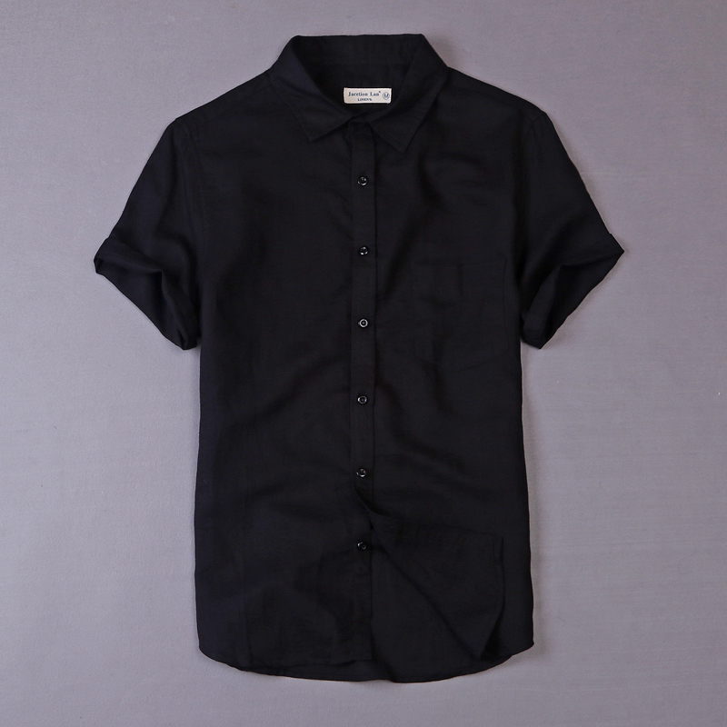 2017 Summer Shirt Men Short Sleeve Linen Men Shirts Casual Business Mens Shirt Brand Clothing Pure Shirts Male Chemise Camiseta