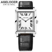 Agelocer Swiss Brand Ladies Watches Women Fashion Quartz watch France Genuine Real Leather Luminous 6.2MM Thin Dress Watches