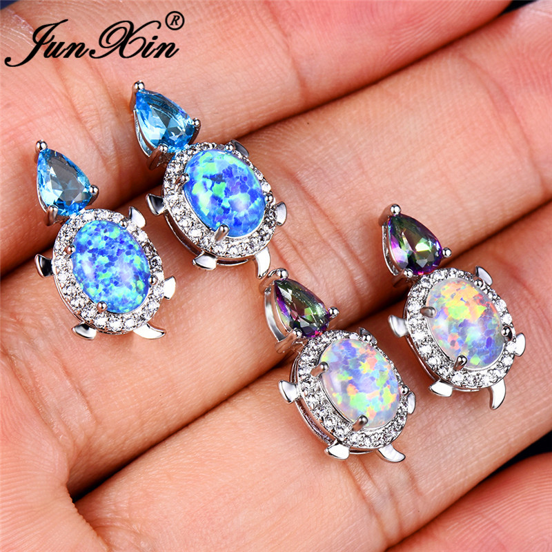 JUNXIN Cute Turtle Stud Earrings For Women Silver Color Pear Teardrop Zircon Oval Blue White Fire Opal Earrings CZ