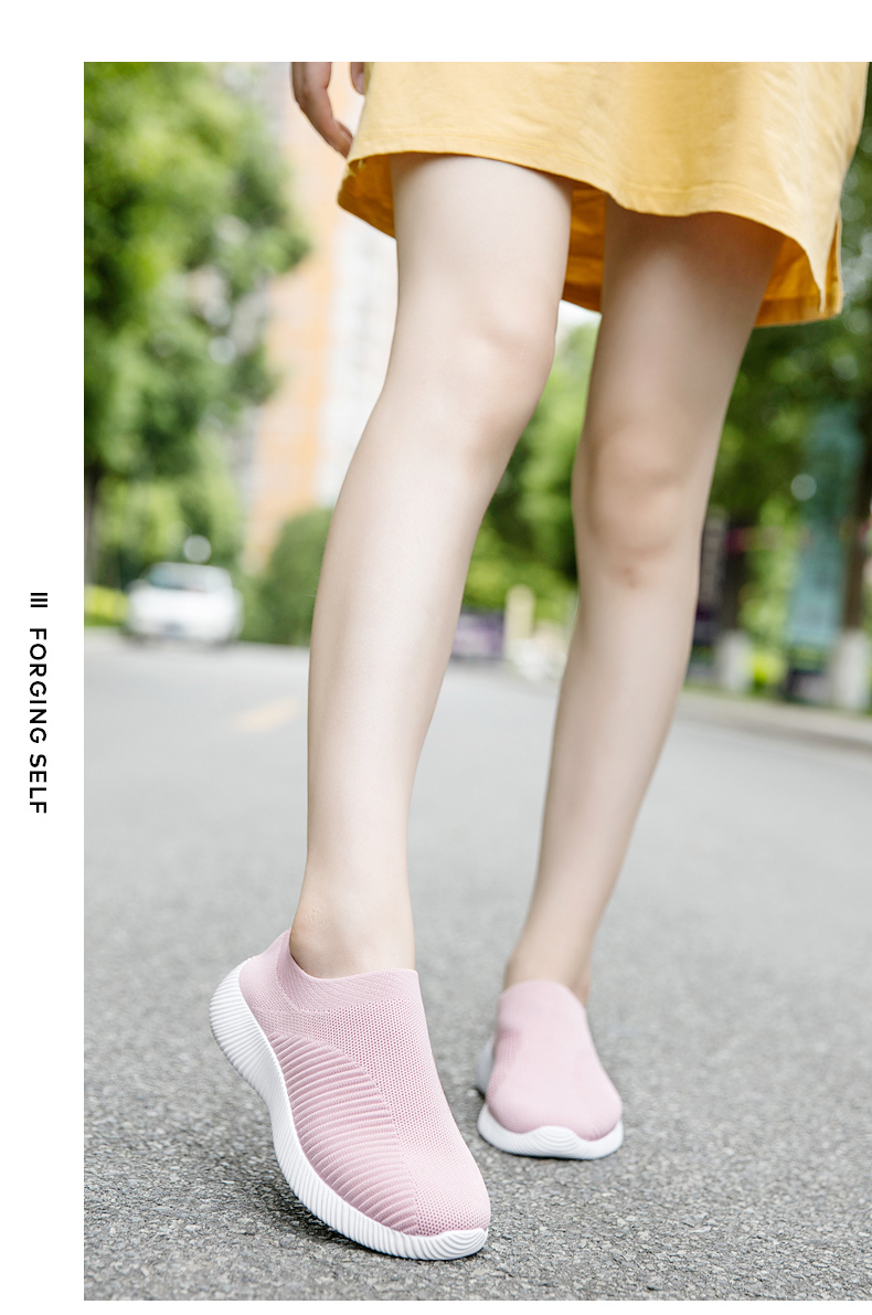 Slip On Flying Knit Women Fashion Sneakers Breathable Flat Heel Casual Shoes Round Toe Low Top Women Shoes XU034 (26)