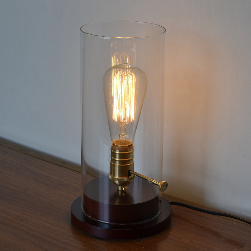 Loft Vintage Retro Industrial Edison Desk Light Wood Clear Glass
