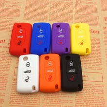 car-styling Car Silicone Remote Key sticker Fob Cover For Peugeot 107 207 307 407 308 607 Citroen C1 C2 C3 C4 C5 C6 C8 3 Button