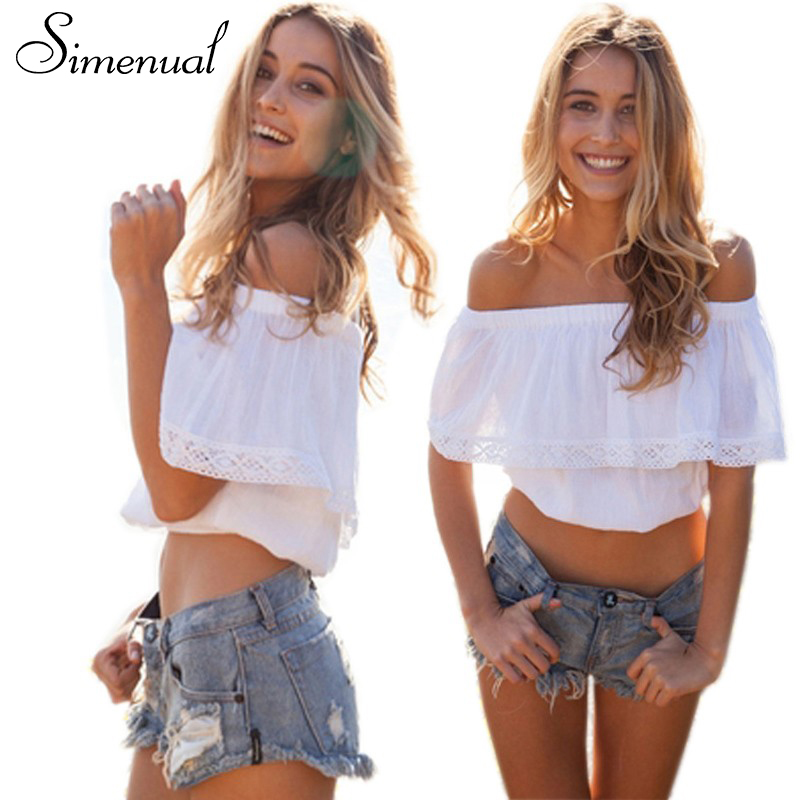 Bohemian off shoulder summer crop top   blouses     shirts   2018 new lace splice white tops for women slash neck sexy hot short   blouse
