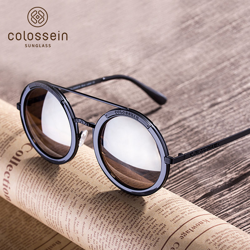 COLOSEIN Sunglasses Women Retro Round Glasses Fashion Mirrored Googles Steampunk Style E ...