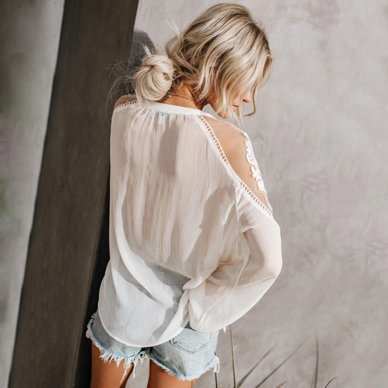 Women Chiffon Blouse Embroidery Patchwork Casual Long SleeveTops Sexy Lace Mesh Shirt Ladies Loose Tops Shirts Female Blusas