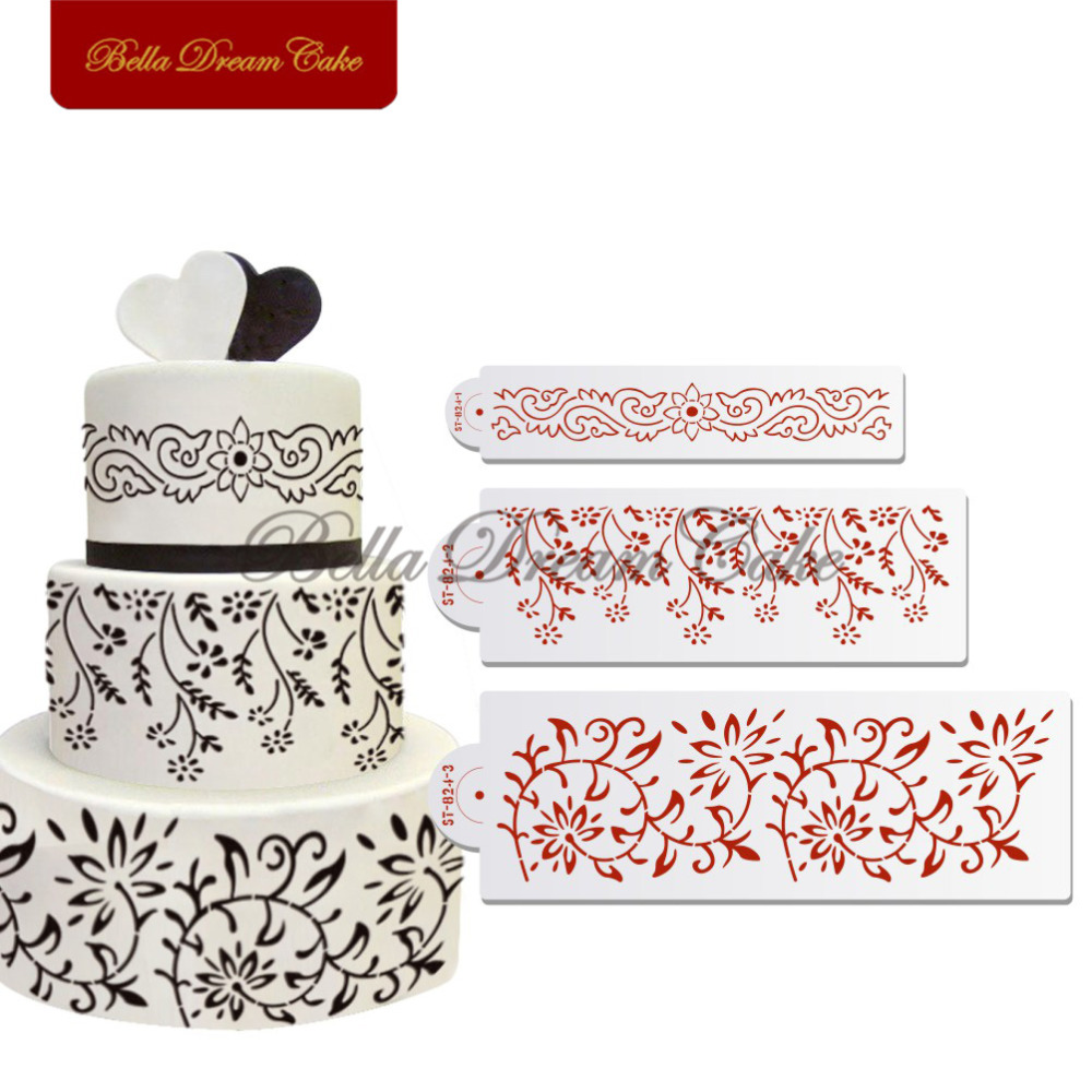 Mould Lace Cake Border Stencil Set Fondant Cake Decorative Accessories Plastic Template Cake Decorating Tools Kitchenware ST-824