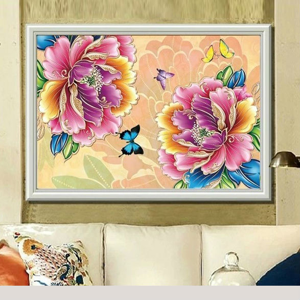 Glymg 5D DIY Diamond Painting Cross Cross Stitch Diamond Qëndisje Peony Flower Crystal Circle Drill Stil Home Bimë për pikturë
