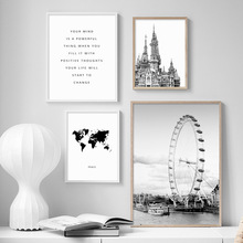 Black White World Map Ferris Wheel Castle Wall Art Canvas Painting Nordic Posters And Prints Pictures For Living Room Decor