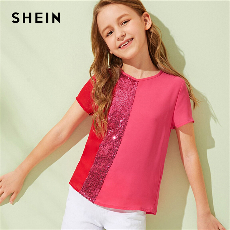 SHEIN Kiddie Contrast Sequin Cut And Sew Girls Casual Blouse Tops 2019 Summer Short Sleeve Button Back Colorblock Blouses