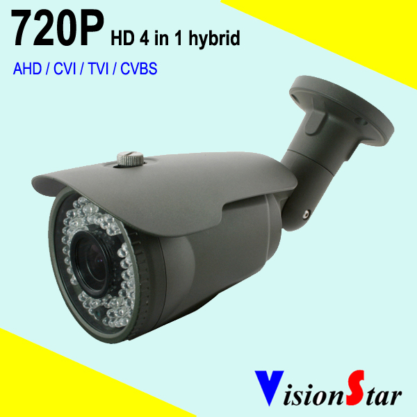1.0mp 720P HD AHD / TVI / CVT / CVBS hybrid bullet cctv camera for outdoor analog security system