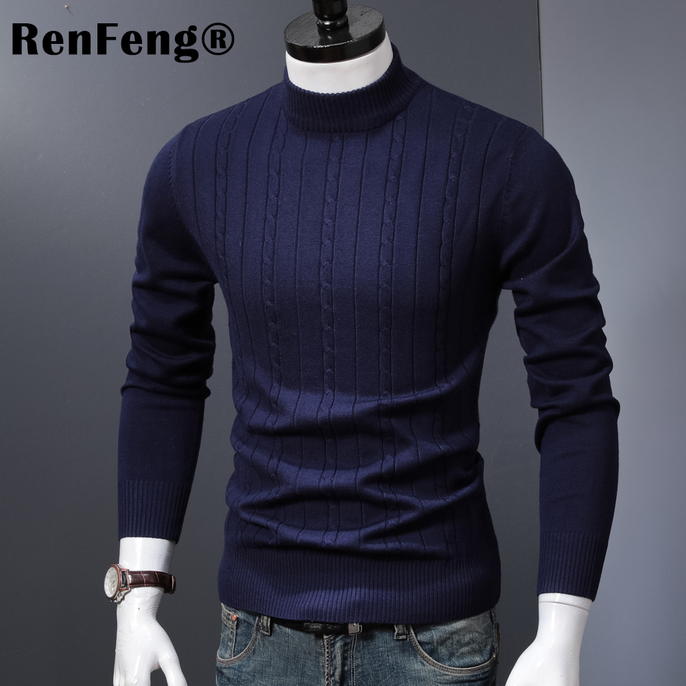 Korean Stretched Thick Warm Men Turtleneck 2018 Winter Mens Sweaters Pullovers Knit Long Sleeve Cashmere Sweater Male Jumper Top (1)
