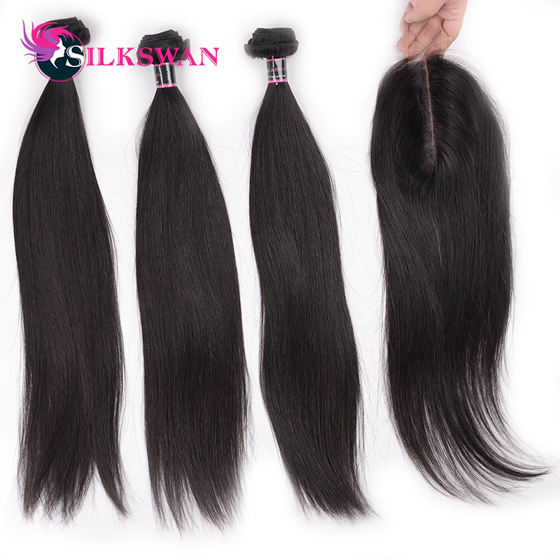 2x6 Lace Closure With 3pcs Bundles Human Hair Extensions Brazilian Remy Silky Straight Human Hair Silkswan