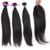 2x6 Lace Closure With 3pcs Bundles Human Hair Extensions Brazilian Remy Silky Straight Human Hair Silkswan Kim K Closure