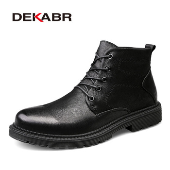 DEKABR New Arrival Handmade Genuine Leather Men Boots Autumn Fur Plus Size 48 Men Winter Shoes Super Warm Men Shoes Sneakers
