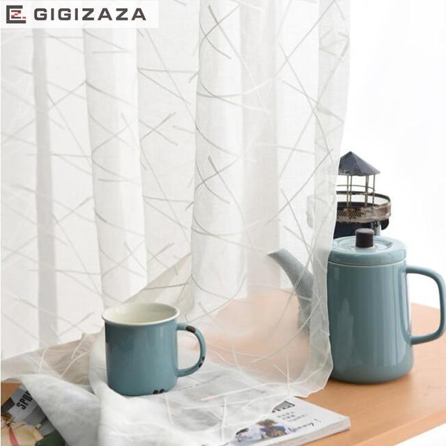 GIGIZAZA Nuovo geometrica bianco del ricamo del voile tende per soggiorno rod pocket tulle drappo finestra pura ready made di formato personalizzato