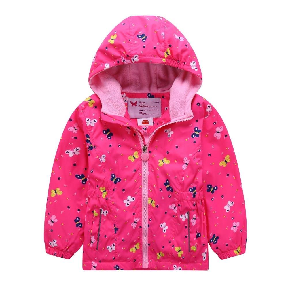 Waterproof Warm Polar Fleece Baby Girls Jackets Print Child Coat Children Outerwear Spring Autumn Kids Outfits For 98-160cm