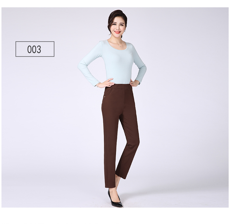Women Casual Pants Plain Color Basic Trousers Spring Autumn Pantalones Mujer High Elastic Band Waist Pant Red White Gray Black (16)