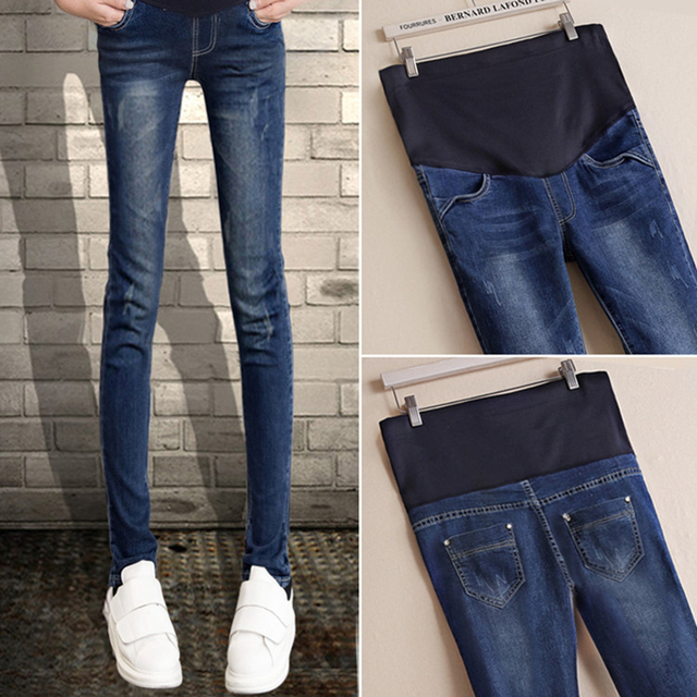 d07baddc4d01 Maternity ankle skinny denim leggings pregancy blue jeans pants with pocket  mother fashion casual home trousers clothings