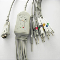 Free Shipping 10 Lead ECG/EKG Cable for Schiller AT1, AT2, AT3, AT4, AT5, AT6, AT10, AT60, AT101, AT102, AT104 Din 3.0 End