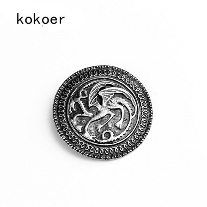 2018 Game of Thrones Brooch song of ice and fire vintage targaryen dragon  Pin brooch Unisex wholesal boys  clothes bag Brooches 668c3a375863