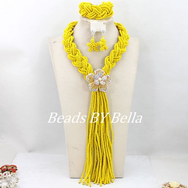 Latest Fashion Yellow African Wedding Beads Jewelry Set Nigerian Crystal Beads Necklace Women Jewelry Set Free Shipping ABY406Latest Fashion Yellow African Wedding Beads Jewelry Set Nigerian Crystal Beads Necklace Women Jewelry Set Free Shipping ABY406