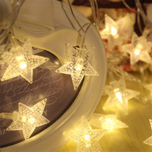 10M 100pcs Lucky Star Shaped LED Christmas String Light Garland Star For Holiday Party Wedding Garden Christmas Decoration