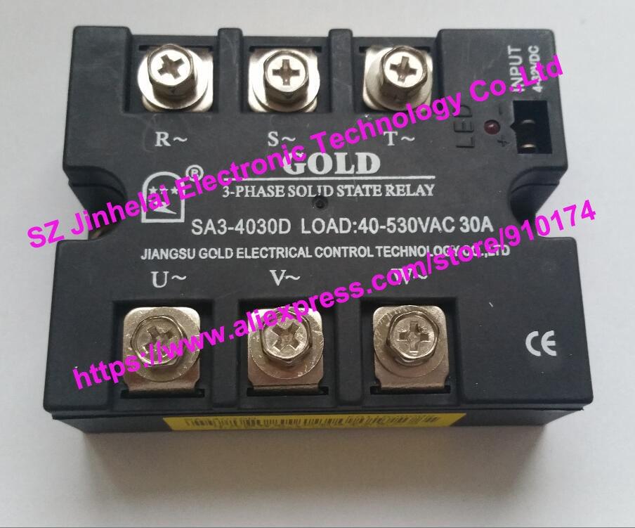 New and original  SA34030D  SA3-4030D  GOLD 3-PHASE Solid state relay  SSR   4-32VDC, 40-530VAC  30A