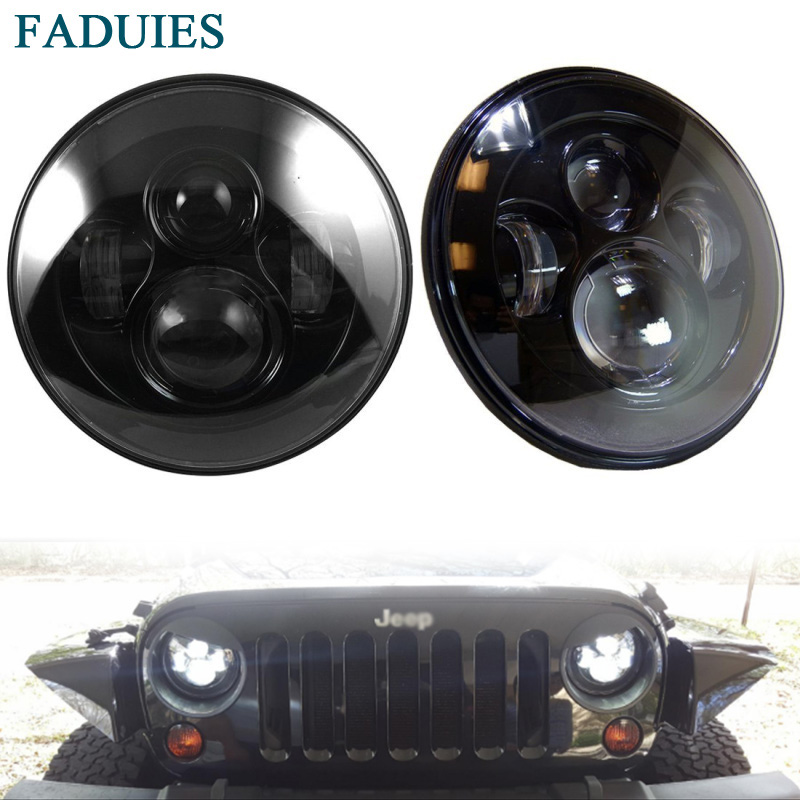 FADUIES 2 Pcs 80W 7 Inch Round Headlights For Jeep Wrangler CJ TJ JK 7 LED